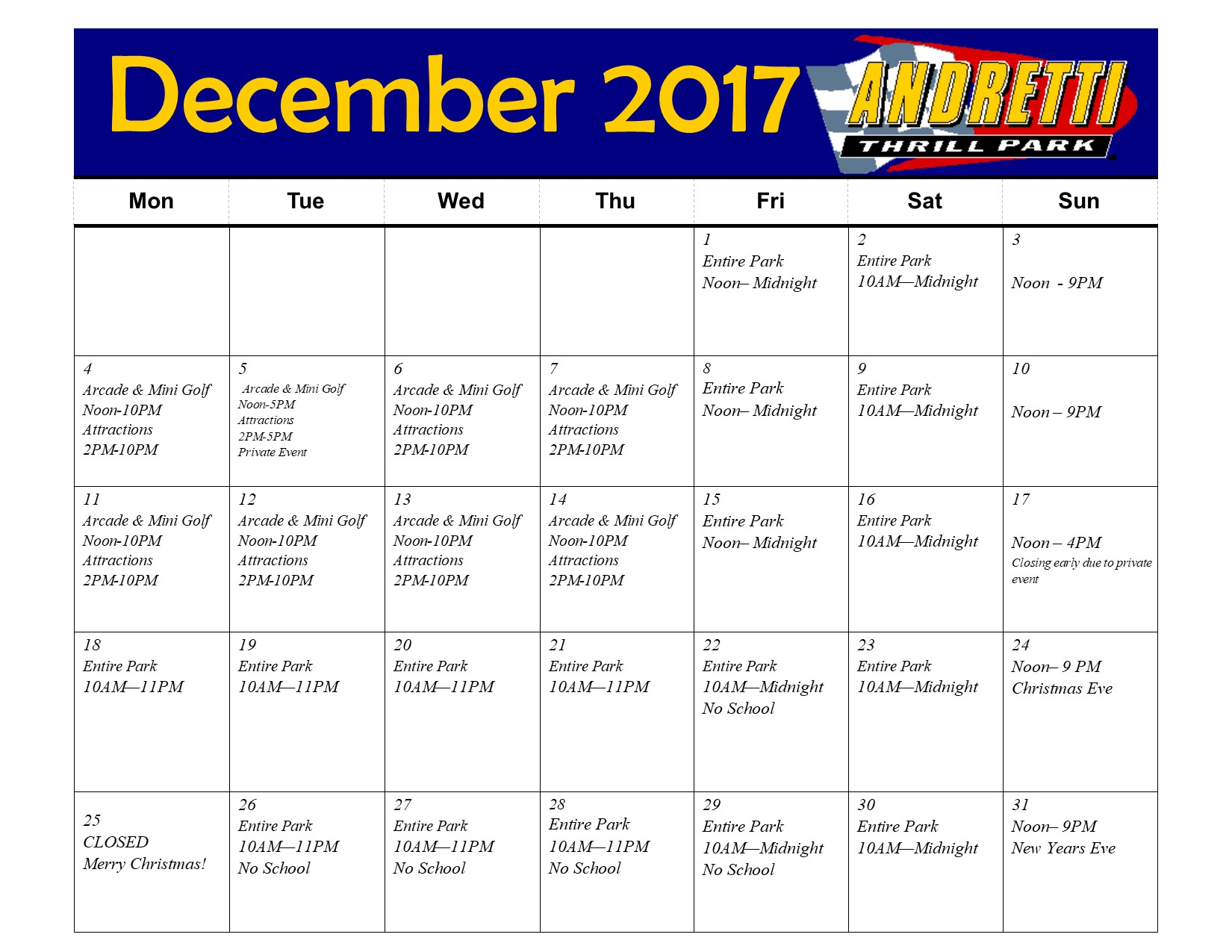 Park Hours Andretti Hours December Hours