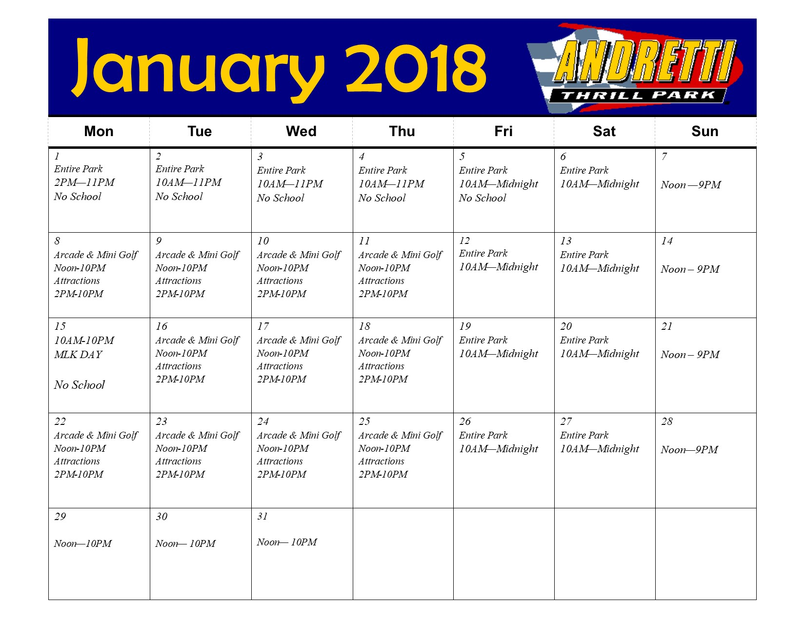 Andretti Hours Park Hours January
