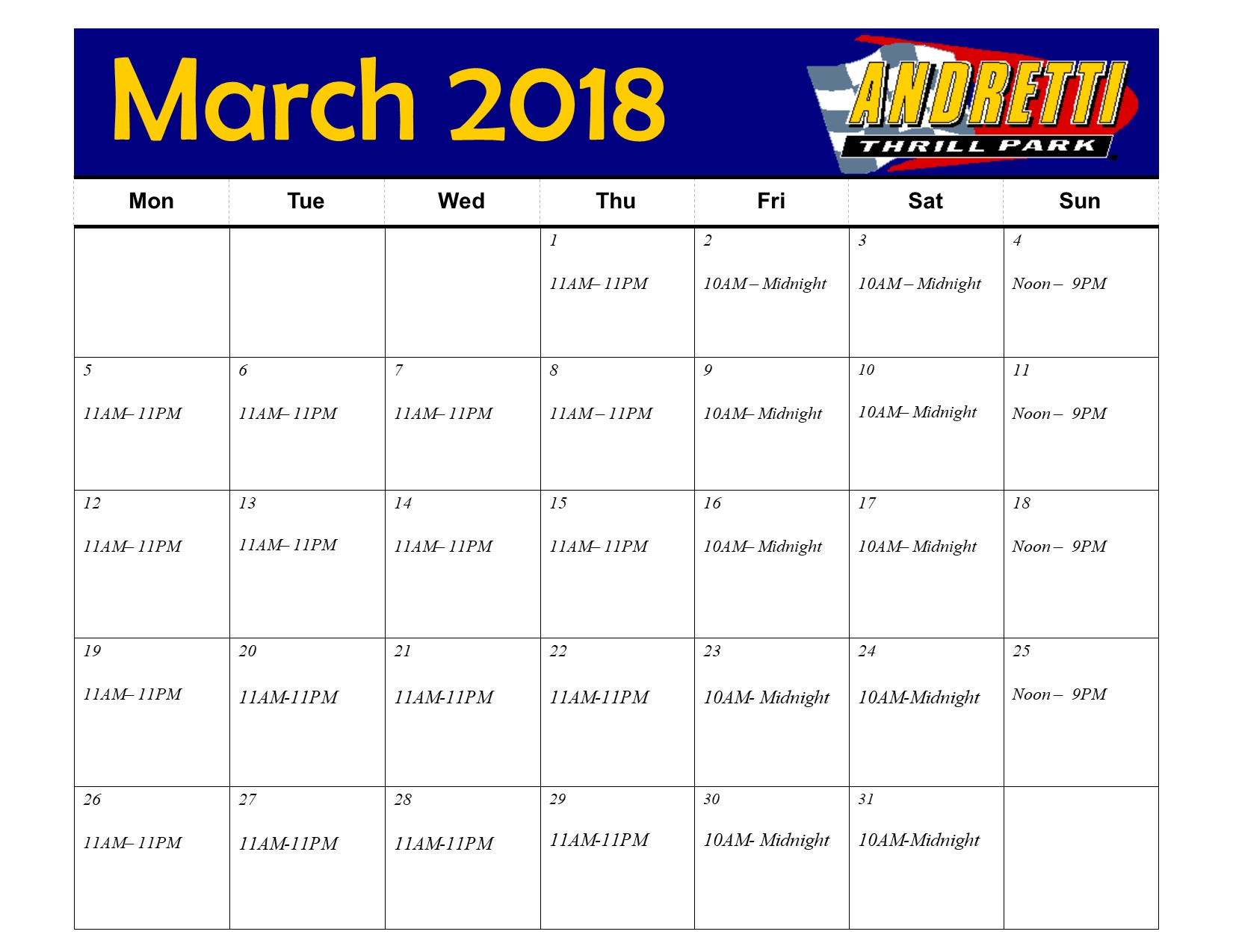 March Hours andretti park hours