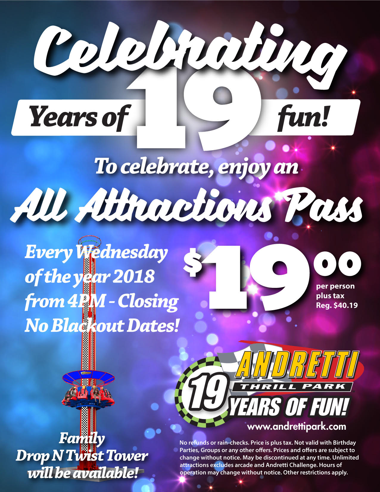 19 years special Andretti Thrill Park Wednesday Special